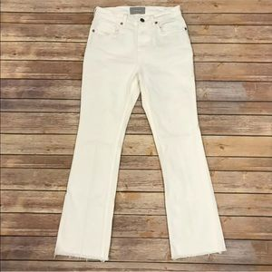 Everlane White Kick Crop Jeans Raw Hem